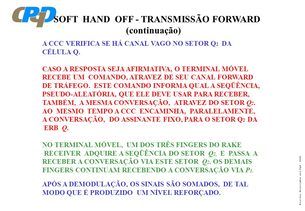 SOFT HAND OFF - TRANSMISSÃO FORWARD