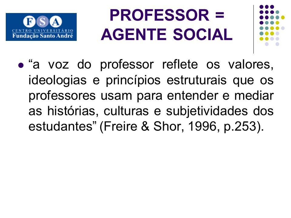 PROFESSOR = AGENTE SOCIAL