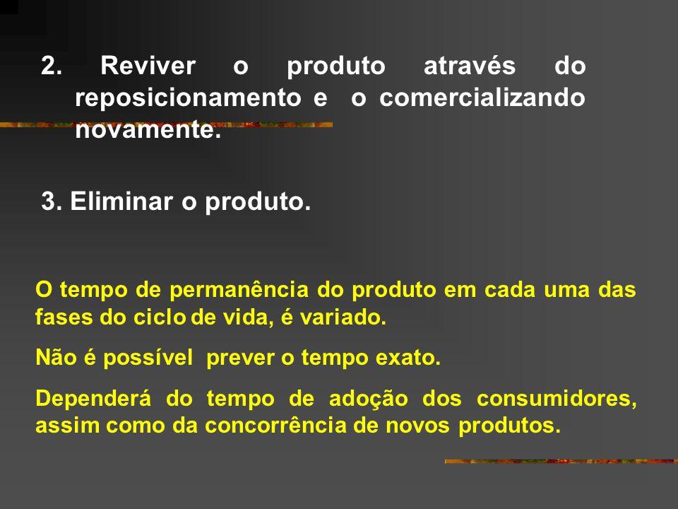 2. Reviver o produto através do reposicionamento e o comercializando novamente.