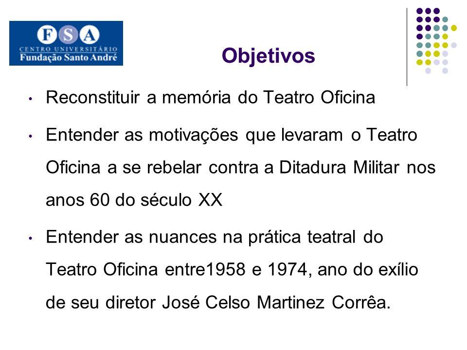 Objetivos Reconstituir a memória do Teatro Oficina