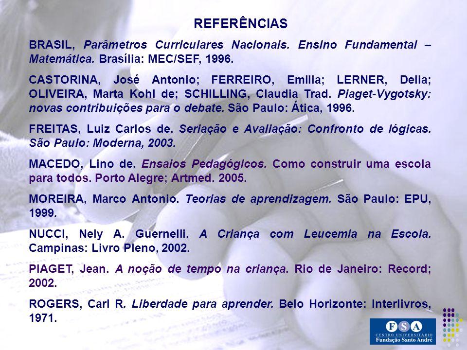 REFERÊNCIAS BRASIL, Parâmetros Curriculares Nacionais. Ensino Fundamental – Matemática. Brasília: MEC/SEF, 1996.