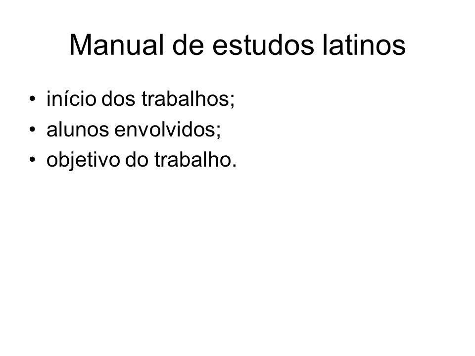 Manual de estudos latinos