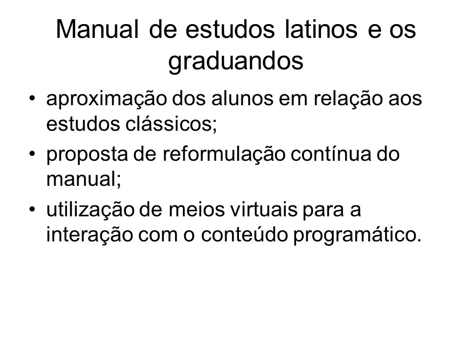 Manual de estudos latinos e os graduandos