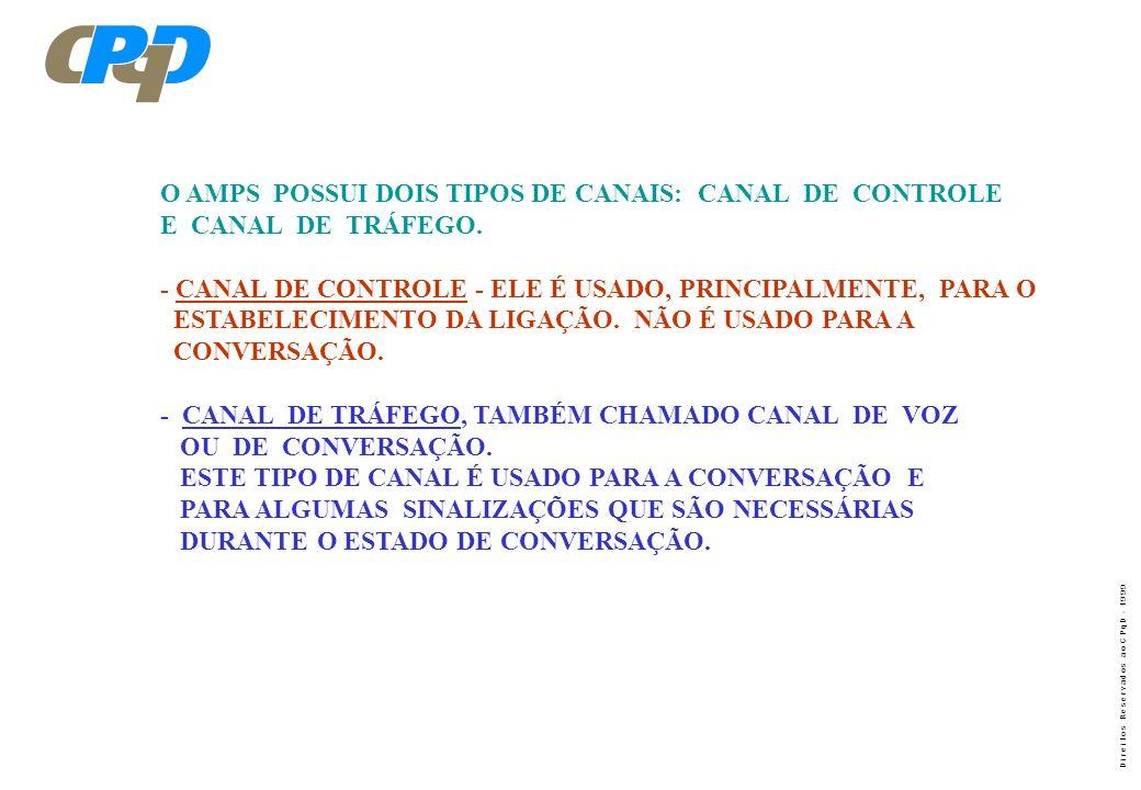 O AMPS POSSUI DOIS TIPOS DE CANAIS: CANAL DE CONTROLE