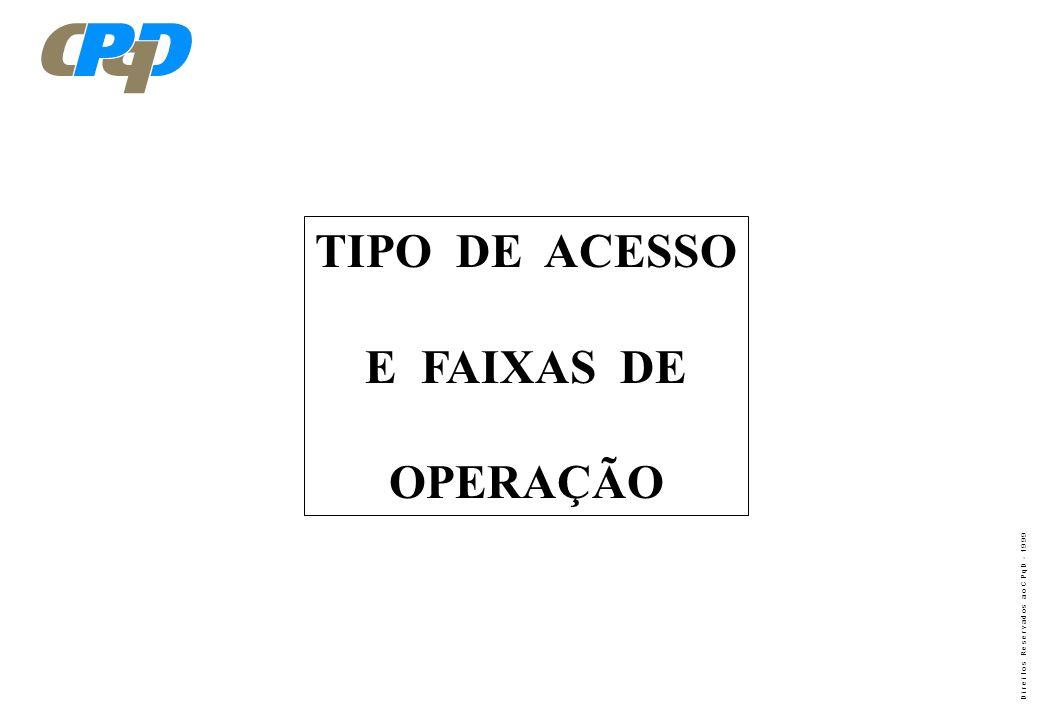 TIPO DE ACESSO E FAIXAS DE OPERAÇÃO