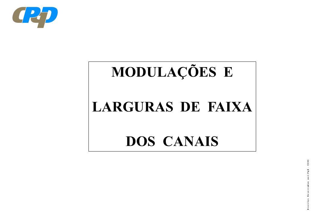 MODULAÇÕES E LARGURAS DE FAIXA DOS CANAIS