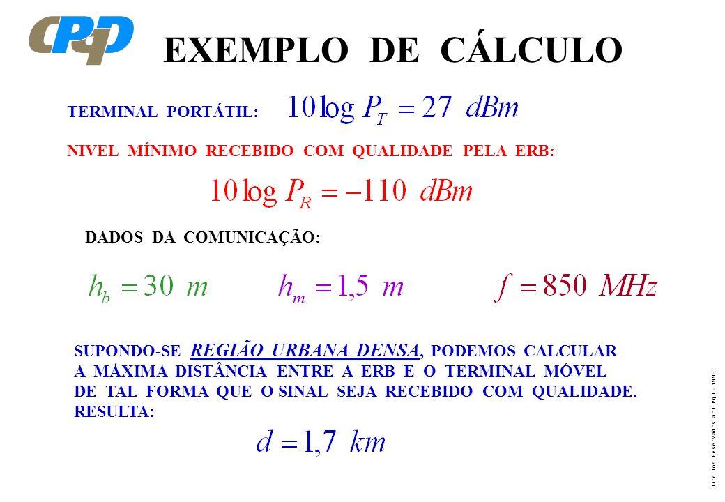 EXEMPLO DE CÁLCULO TERMINAL PORTÁTIL: