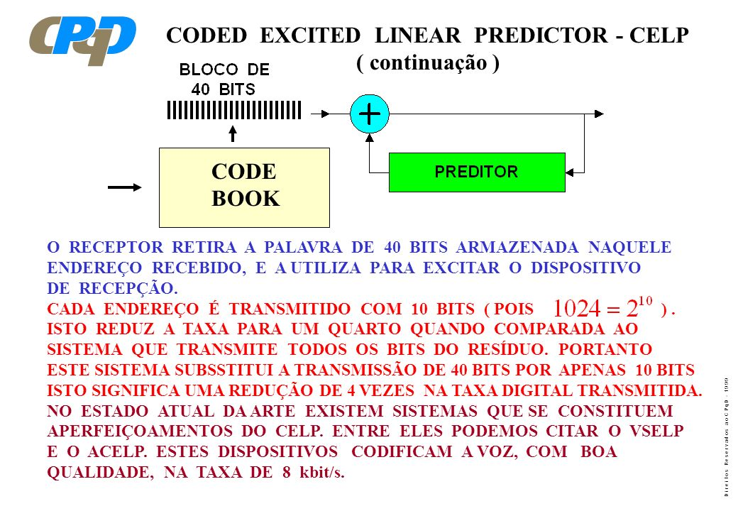 CODED EXCITED LINEAR PREDICTOR - CELP