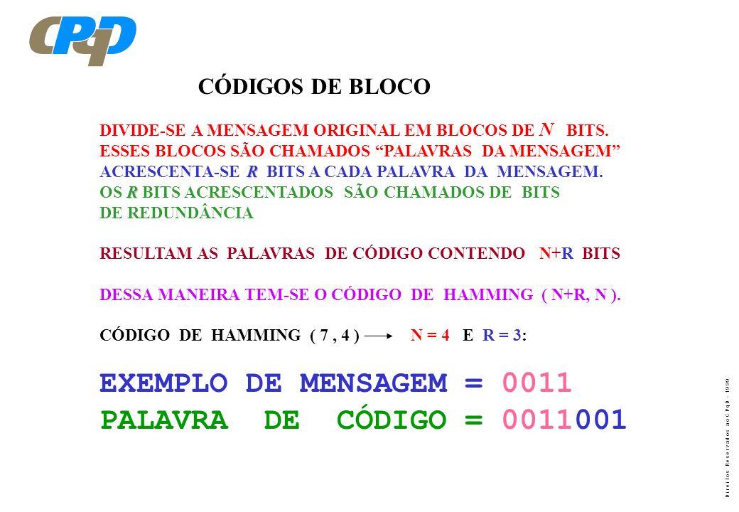 EXEMPLO DE MENSAGEM = 0011 PALAVRA DE CÓDIGO = 0011001