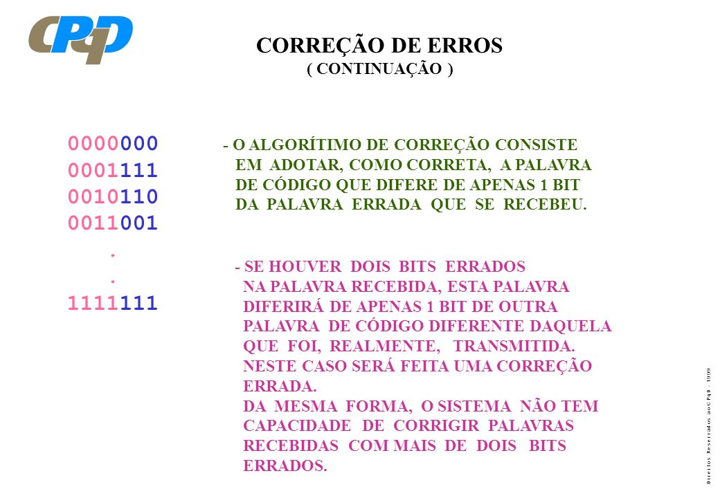 CORREÇÃO DE ERROS ( CONTINUAÇÃO ) - O ALGORÍTIMO DE CORREÇÃO CONSISTE. EM ADOTAR, COMO CORRETA, A PALAVRA.