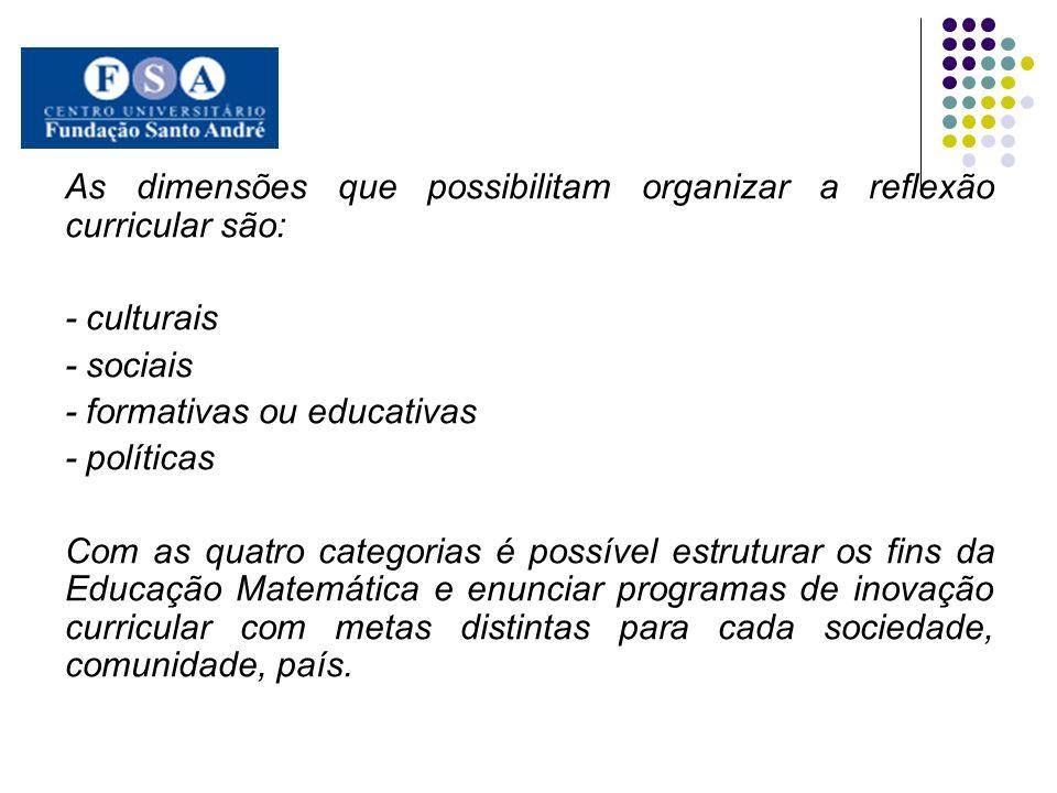 As dimensões que possibilitam organizar a reflexão curricular são: