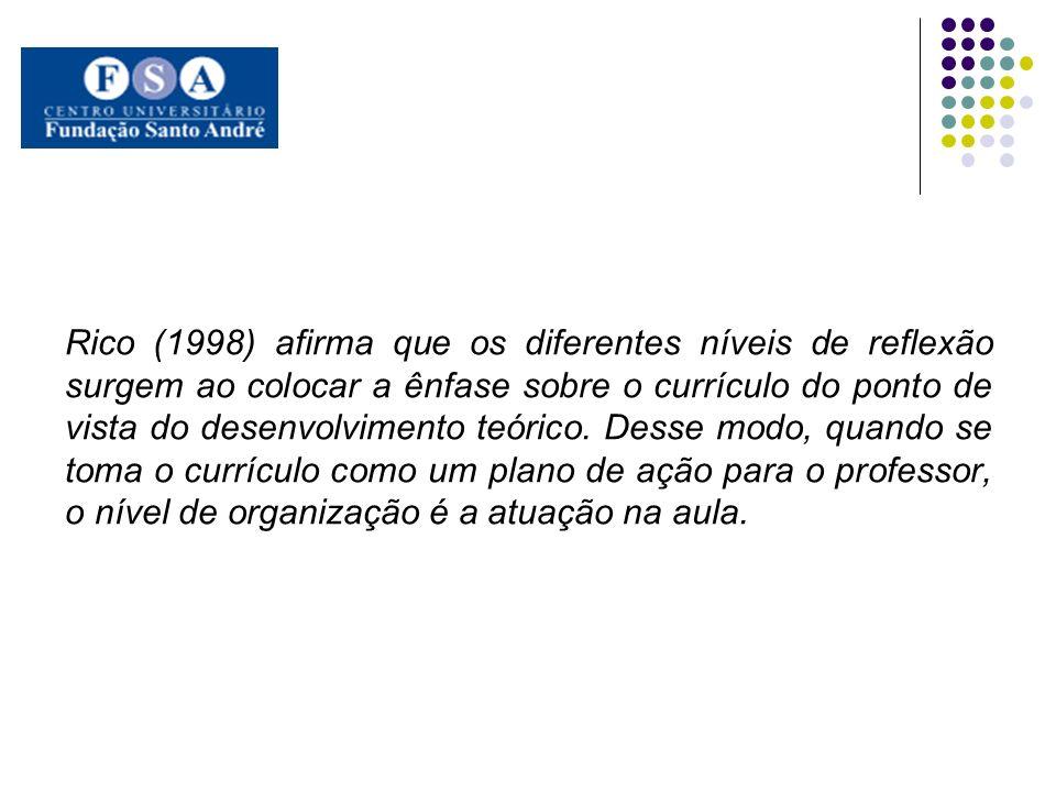 Rico (1998) afirma que os diferentes níveis de reflexão surgem ao colocar a ênfase sobre o currículo do ponto de vista do desenvolvimento teórico.