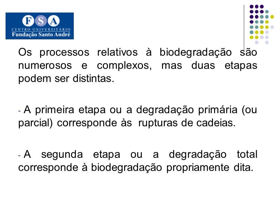 Os processos relativos à biodegradação são numerosos e complexos, mas duas etapas podem ser distintas.