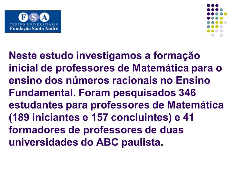 Neste estudo investigamos a formação inicial de professores de Matemática para o ensino dos números racionais no Ensino Fundamental.