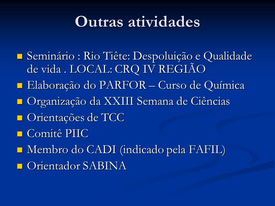 Outras atividadesSeminário : Rio Tiête: Despoluição e Qualidade de vida . LOCAL: CRQ IV REGIÃO. Elaboração do PARFOR – Curso de Química.