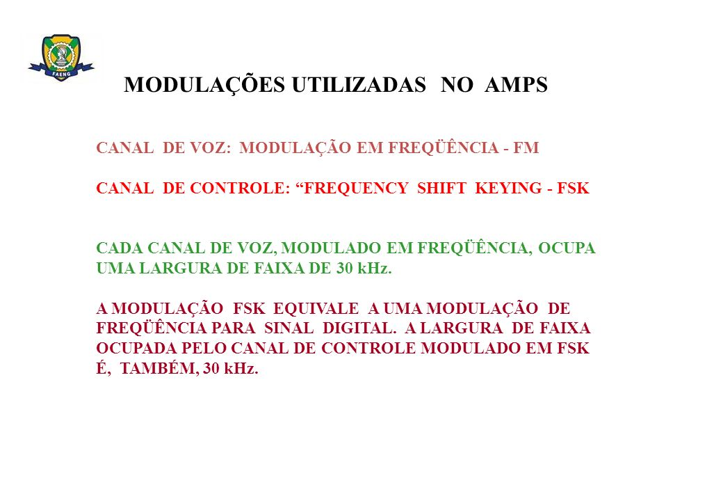 MODULAÇÕES UTILIZADAS NO AMPS