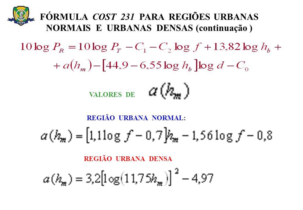 FÓRMULA COST 231 PARA REGIÕES URBANAS NORMAIS E URBANAS DENSAS (continuação )