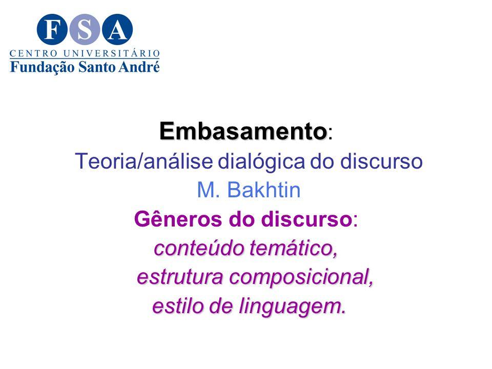 Embasamento: Teoria/análise dialógica do discurso M. Bakhtin