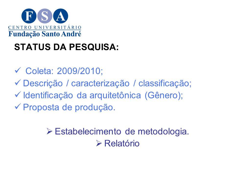 Estabelecimento de metodologia.