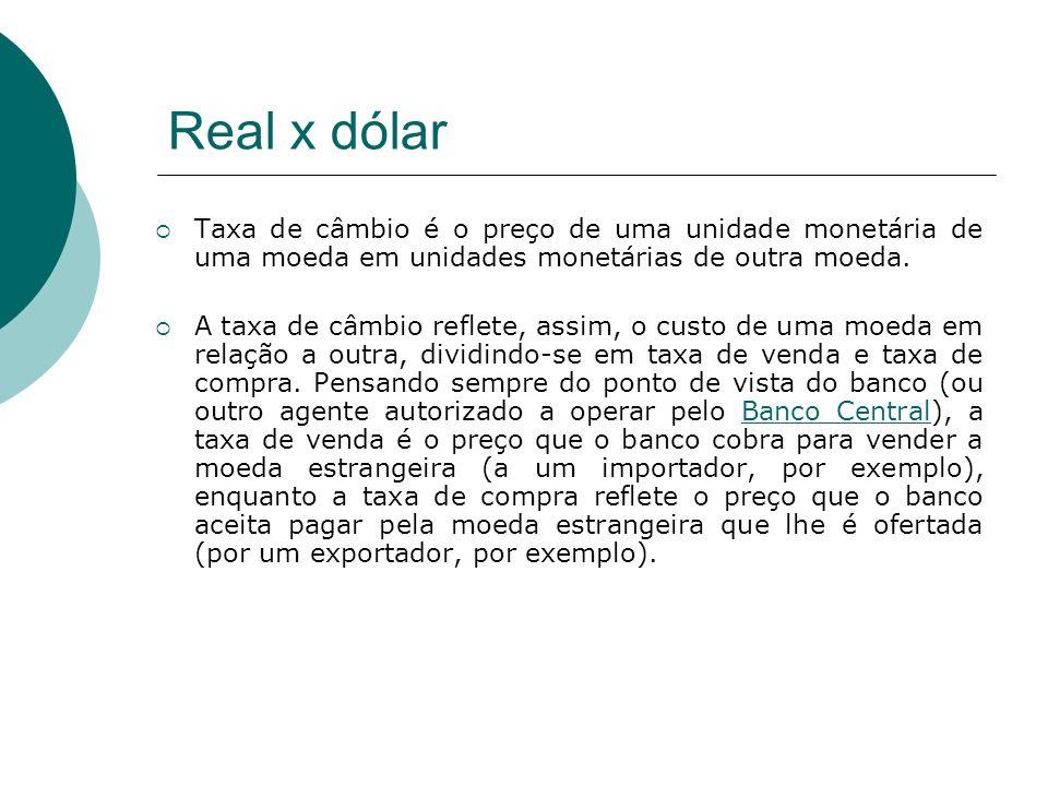 Real x dólar Taxa de câmbio é o preço de uma unidade monetária de uma moeda em unidades monetárias de outra moeda.