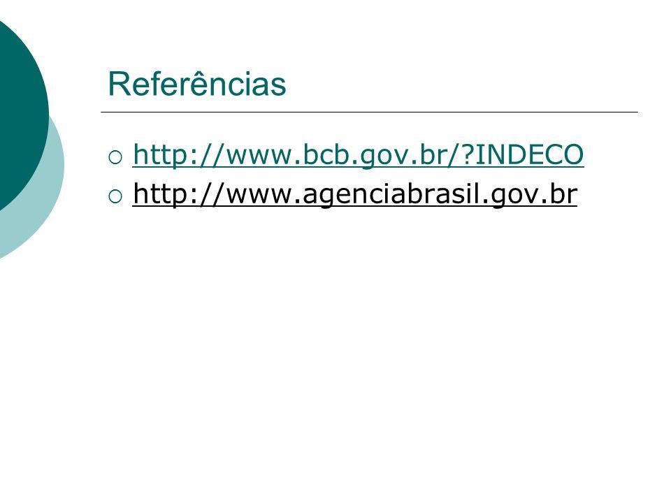 Referências http://www.bcb.gov.br/ INDECO