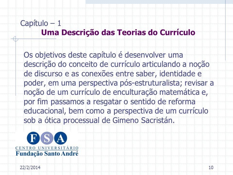 Capítulo – 1 Uma Descrição das Teorias do Currículo