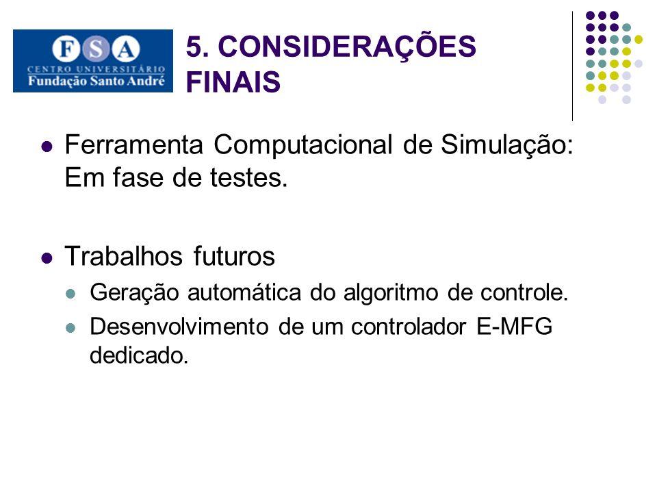 5. CONSIDERAÇÕES FINAIS Ferramenta Computacional de Simulação: Em fase de testes. Trabalhos futuros.