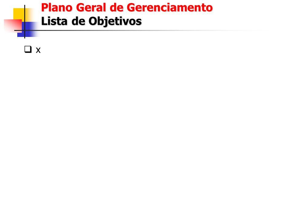 Plano Geral de Gerenciamento Lista de Objetivos