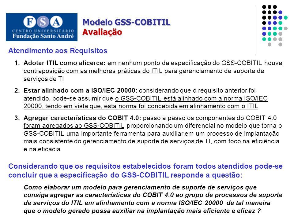Modelo GSS-COBITIL Avaliação Atendimento aos Requisitos