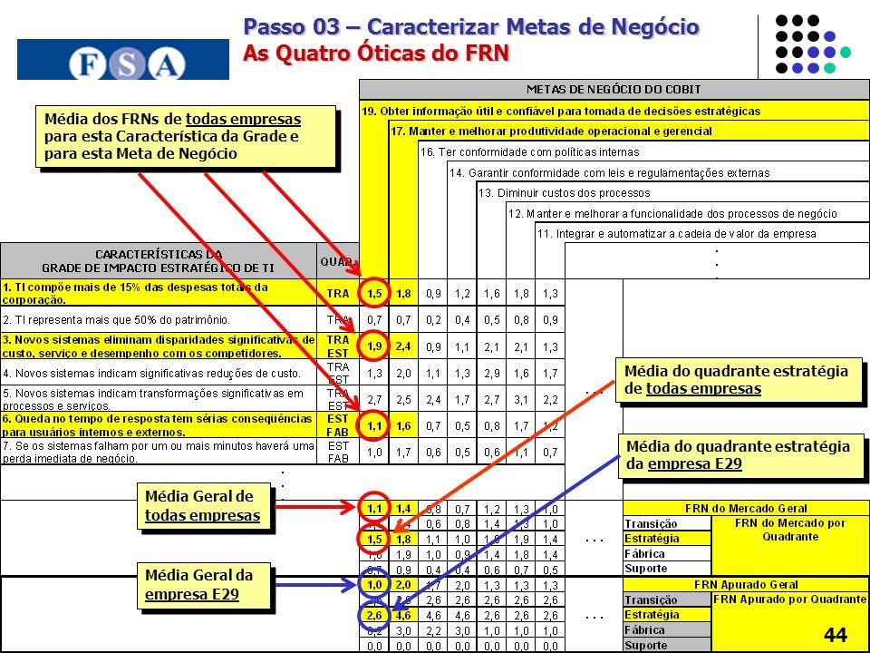 Passo 03 – Caracterizar Metas de Negócio As Quatro Óticas do FRN