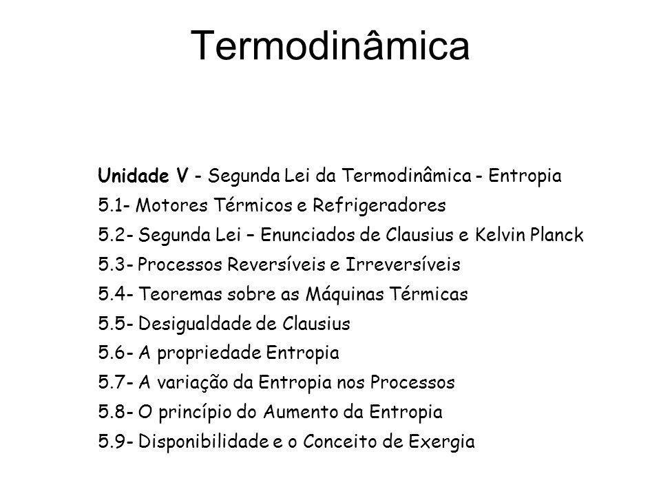 Termodinâmica Unidade V - Segunda Lei da Termodinâmica - Entropia