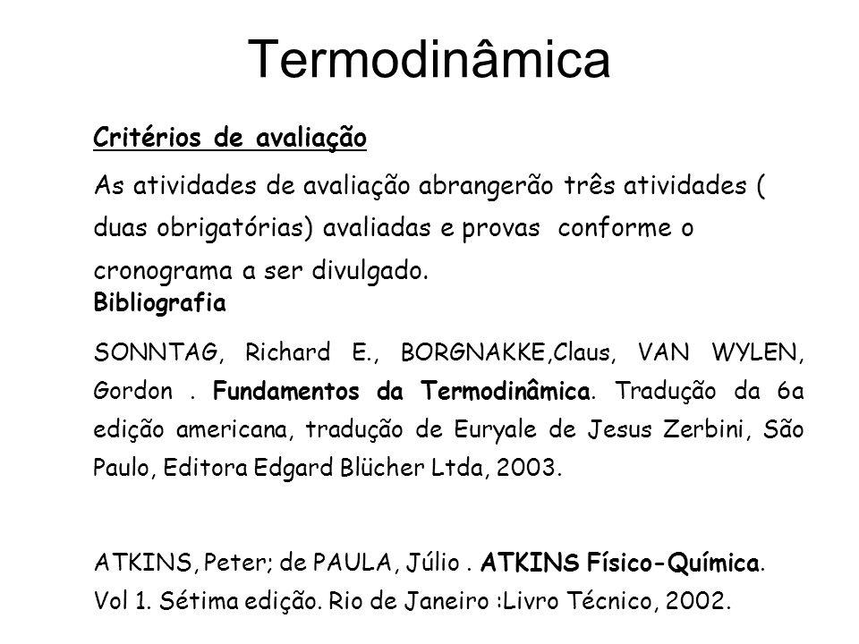Termodinâmica Critérios de avaliação