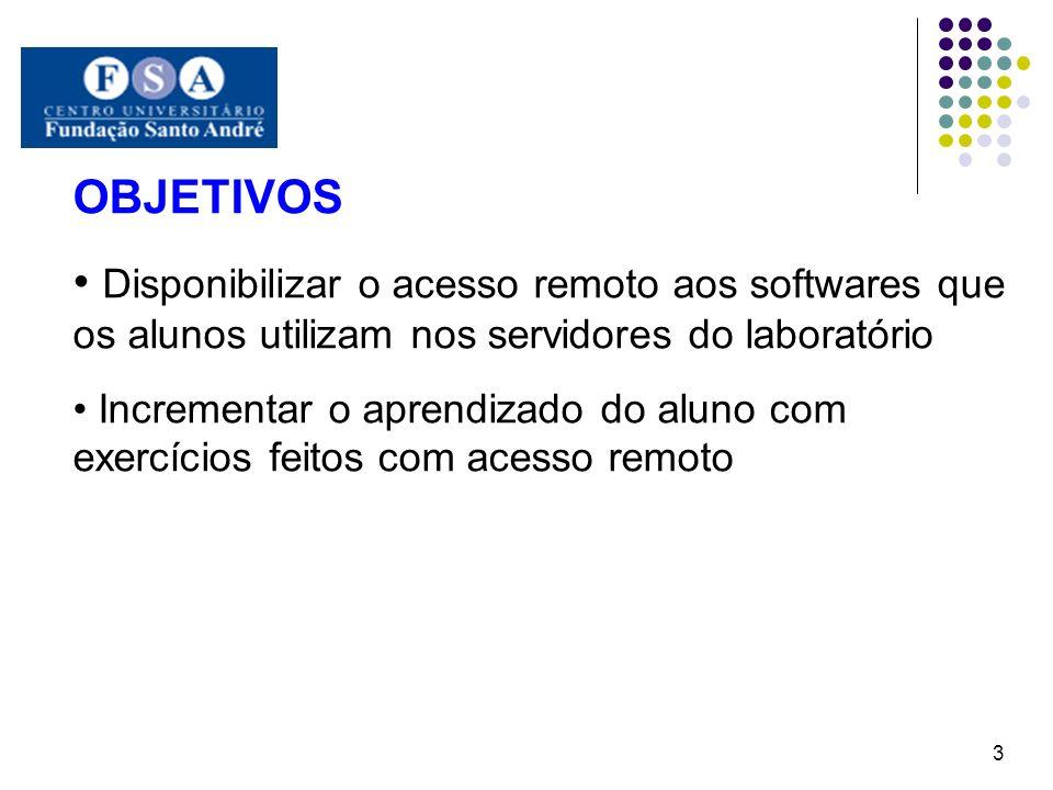 OBJETIVOS Disponibilizar o acesso remoto aos softwares que os alunos utilizam nos servidores do laboratório.