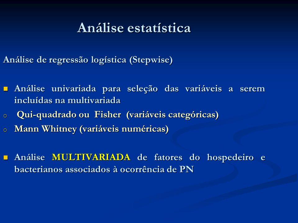 Análise estatística Análise de regressão logística (Stepwise)