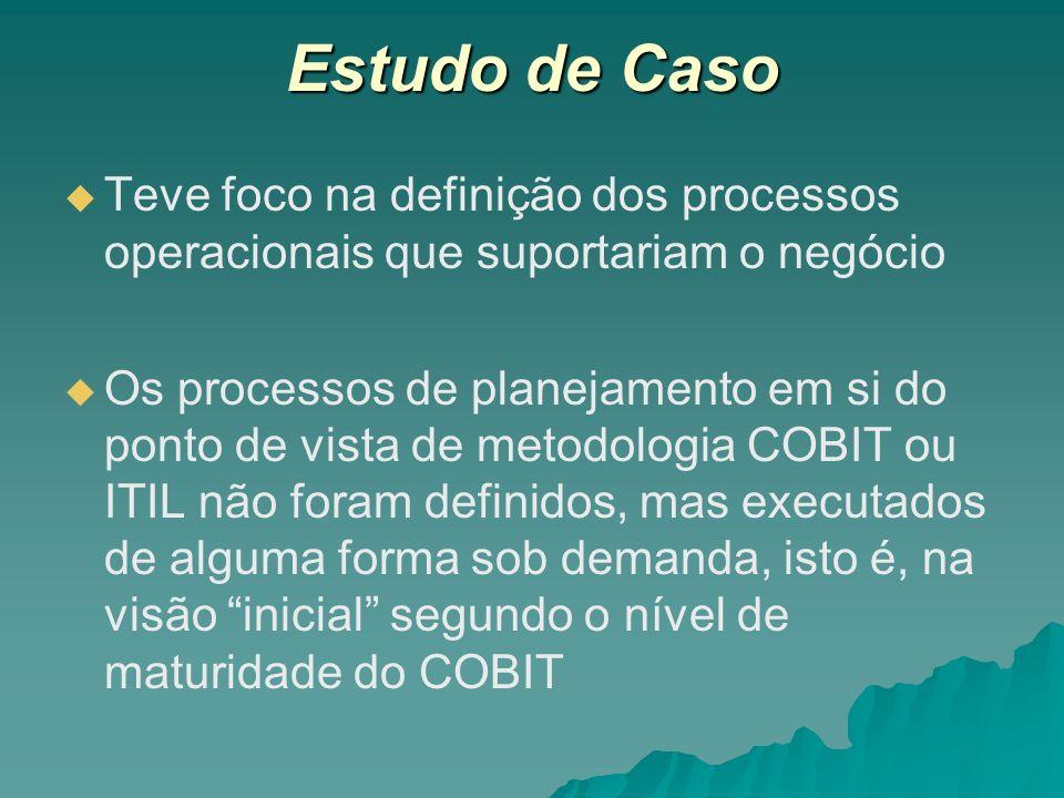 Estudo de Caso Teve foco na definição dos processos operacionais que suportariam o negócio.