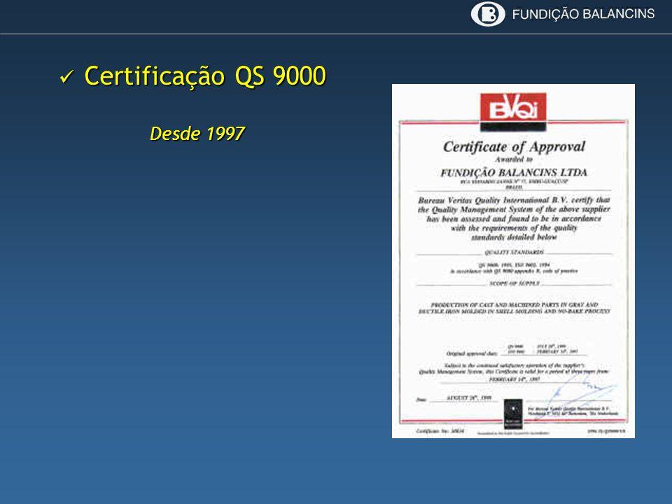 Certificação QS 9000 Desde 1997
