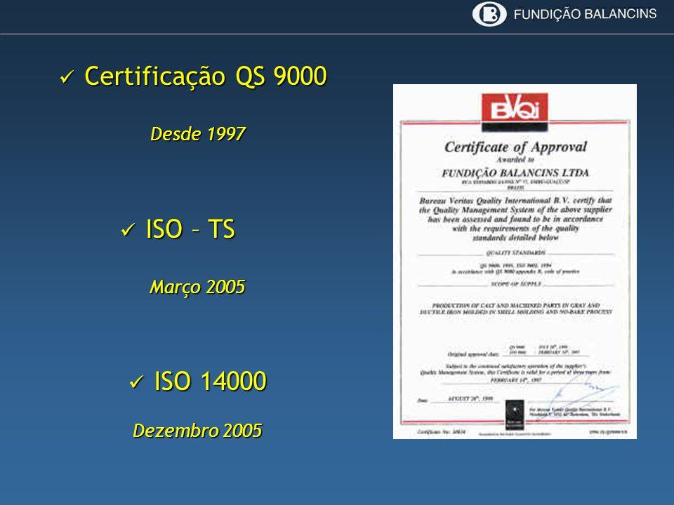 Certificação QS 9000 ISO – TS ISO 14000 Desde 1997 Março 2005