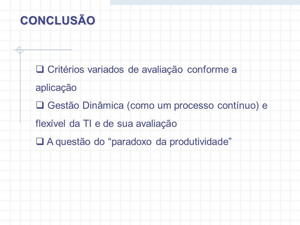 CONCLUSÃO Critérios variados de avaliação conforme a aplicação
