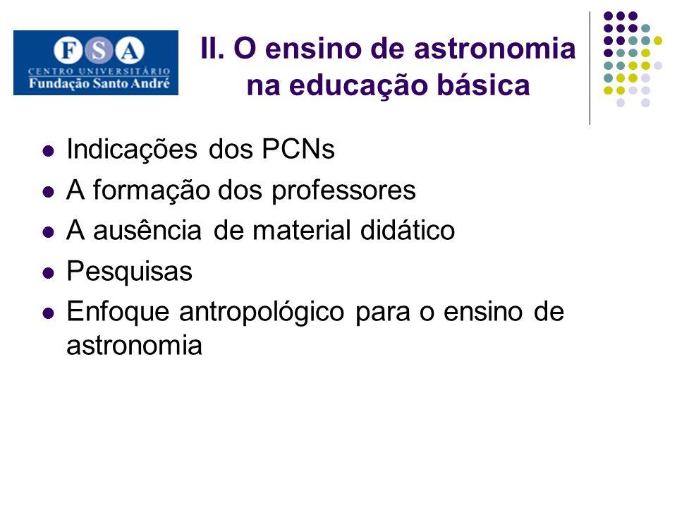 II. O ensino de astronomia na educação básica