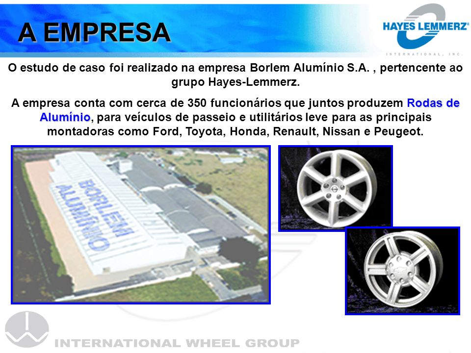 A EMPRESA O estudo de caso foi realizado na empresa Borlem Alumínio S.A. , pertencente ao grupo Hayes-Lemmerz.