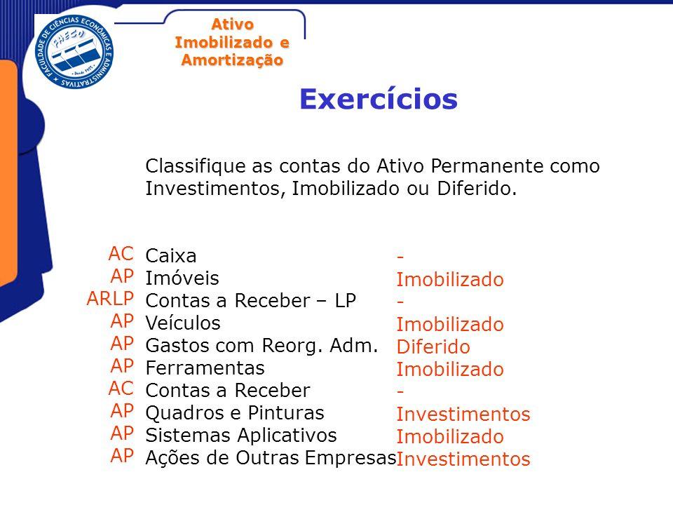 ExercíciosClassifique as contas do Ativo Permanente como Investimentos, Imobilizado ou Diferido. Caixa.