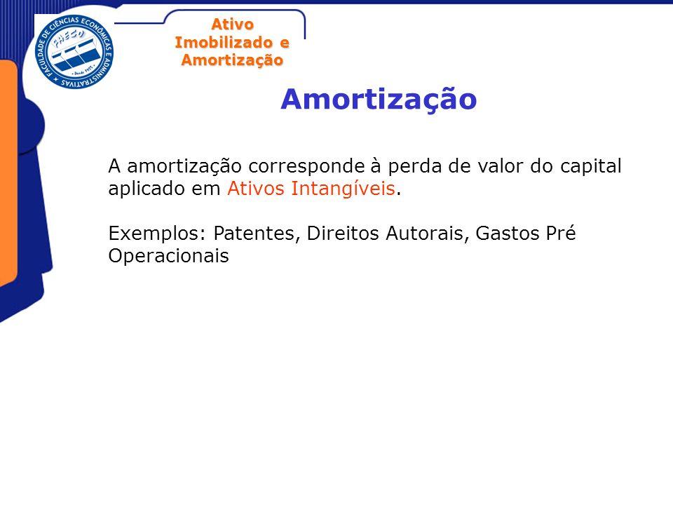 AmortizaçãoA amortização corresponde à perda de valor do capital aplicado em Ativos Intangíveis.