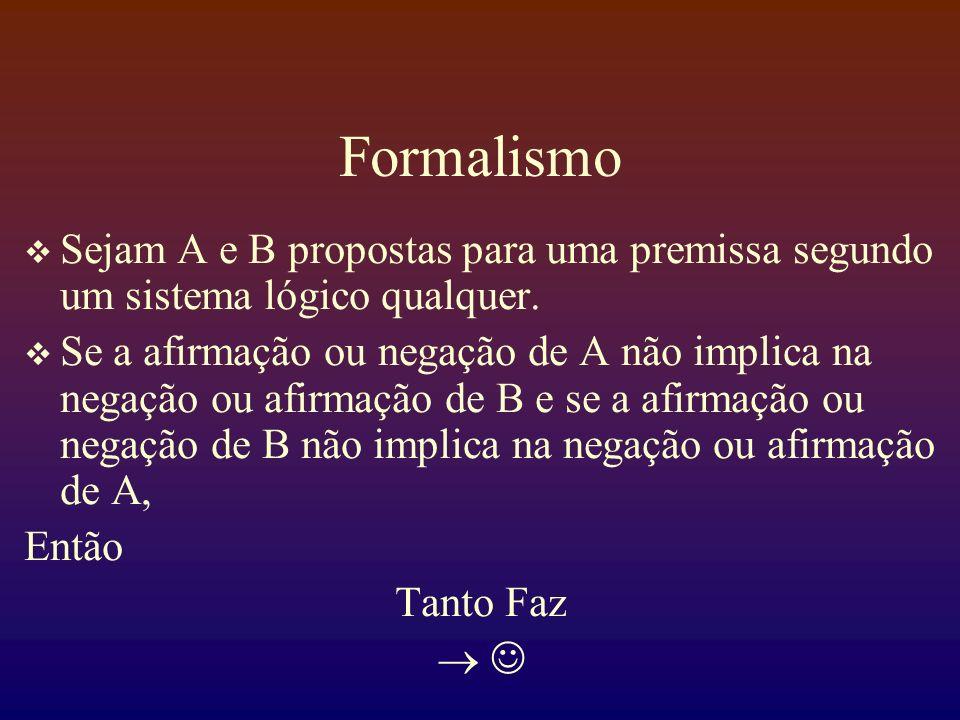 Formalismo Sejam A e B propostas para uma premissa segundo um sistema lógico qualquer.