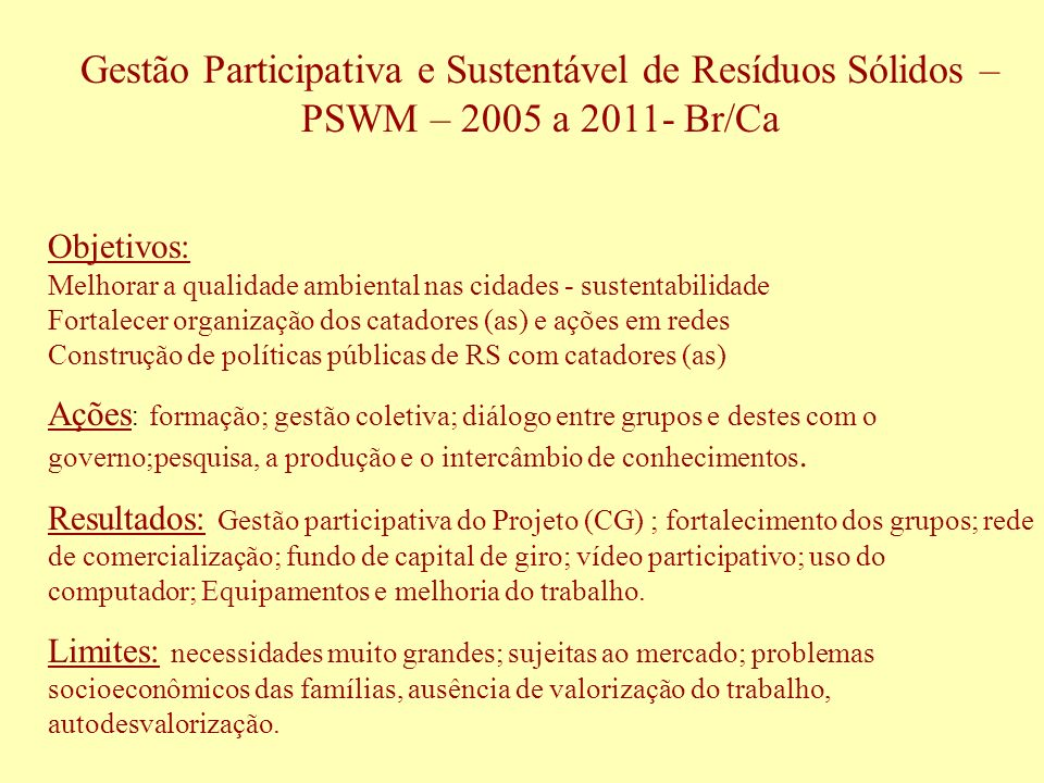 Gestão Participativa e Sustentável de Resíduos Sólidos – PSWM – 2005 a 2011- Br/Ca