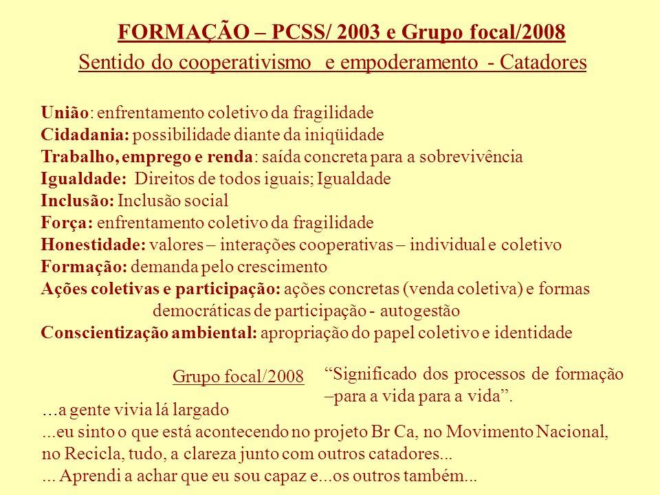 FORMAÇÃO – PCSS/ 2003 e Grupo focal/2008