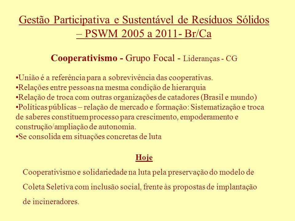 Cooperativismo - Grupo Focal - Lideranças - CG