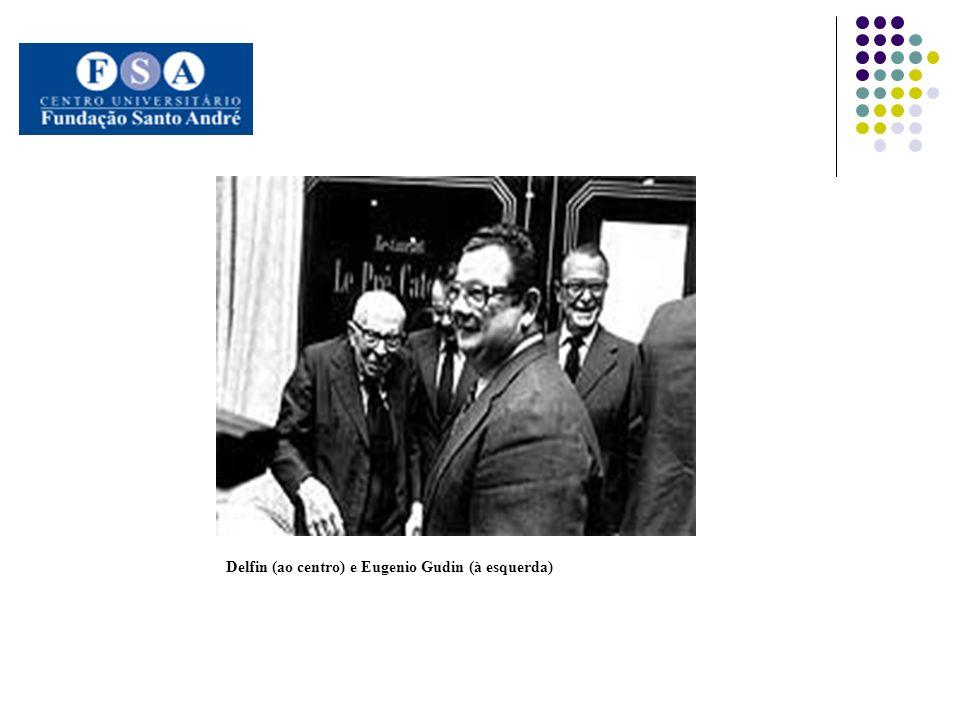 Delfin (ao centro) e Eugenio Gudin (à esquerda)