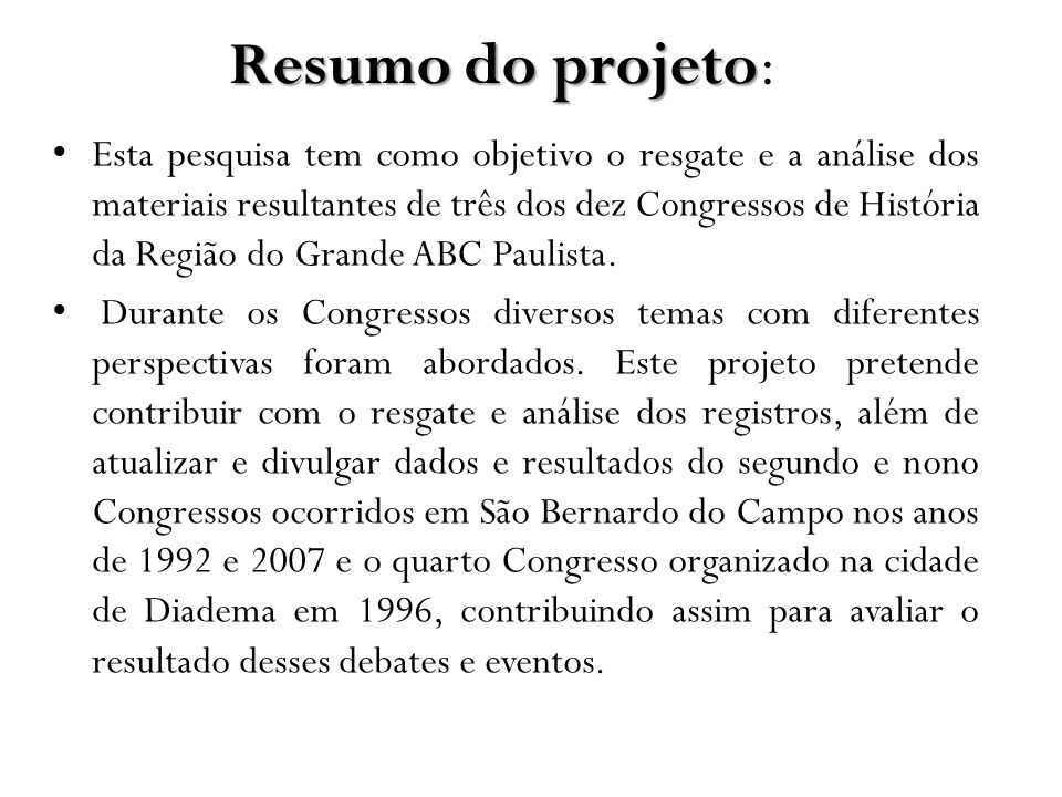 Resumo do projeto: