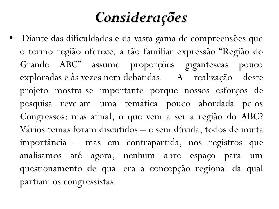Considerações