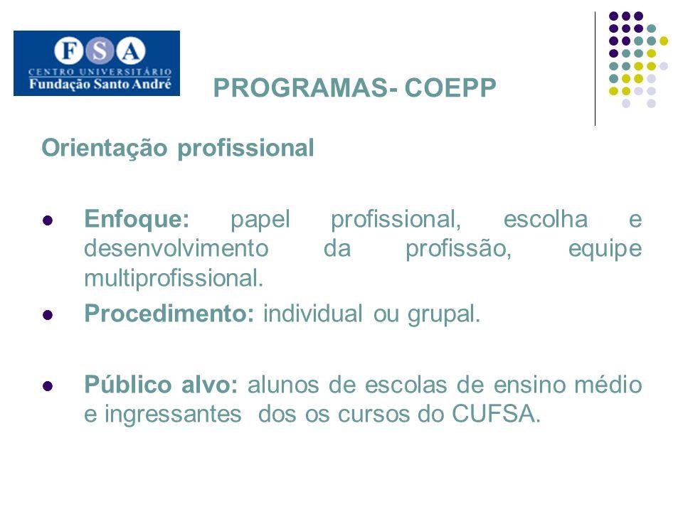 PROGRAMAS- COEPP Orientação profissional